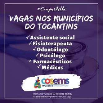 Vagas para assistente social, fisioterapeuta, odontólogo, psicólogo, farmacêuticos e médicos